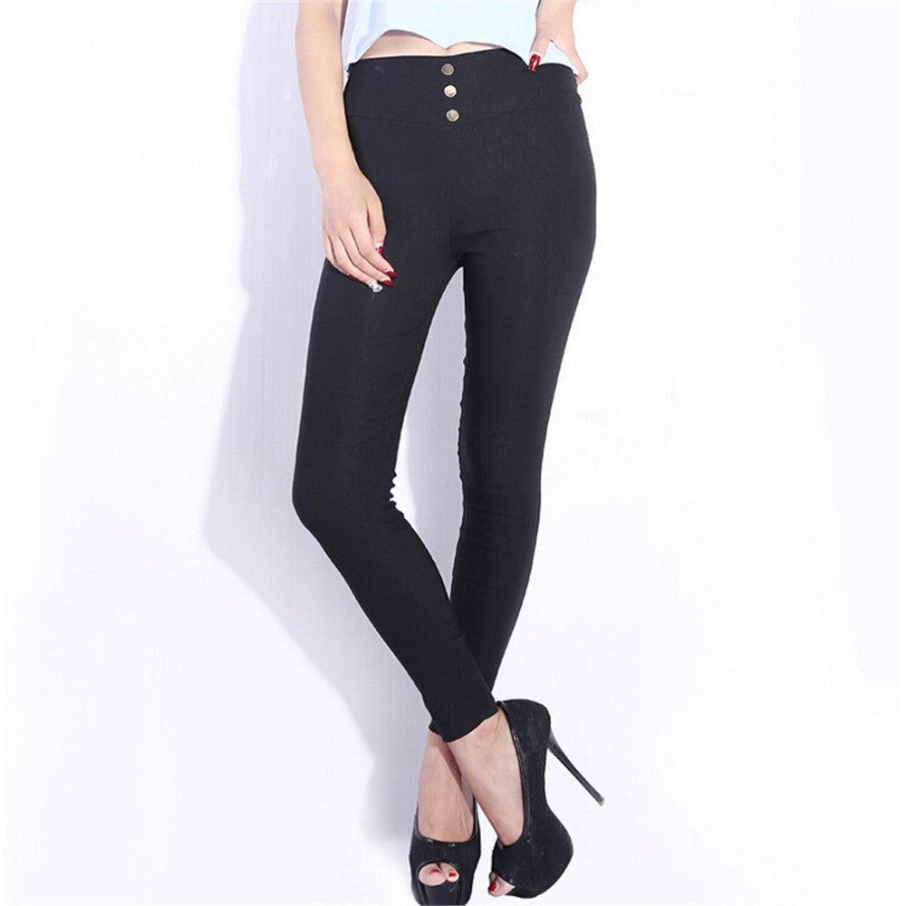 Women Skinny High Waist Leggings Stretchy Sexy Pants Pencil Jeggings Hot sale One size black - Mega Save Wholesale & Retail - 1