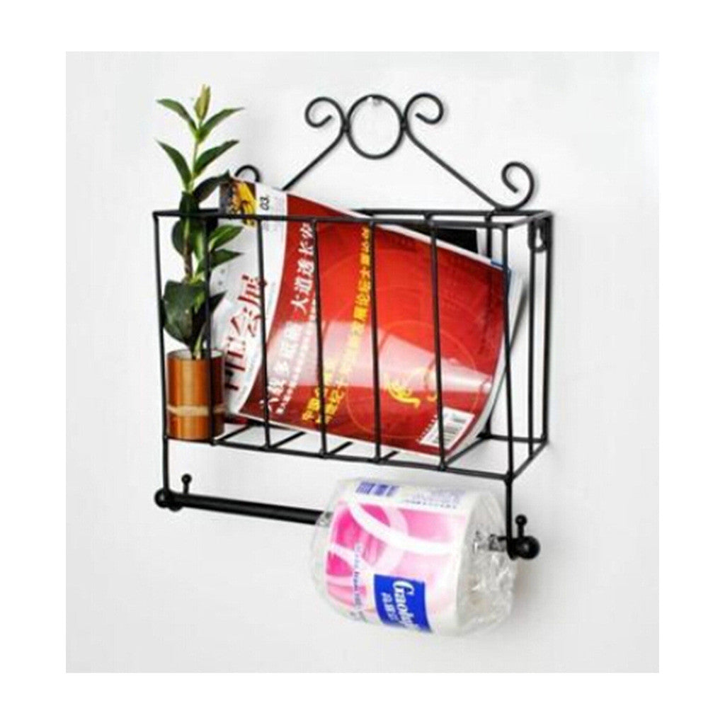 Magazine Rack with Tissue Holder Iron Art Black - Mega Save Wholesale & Retail - 2