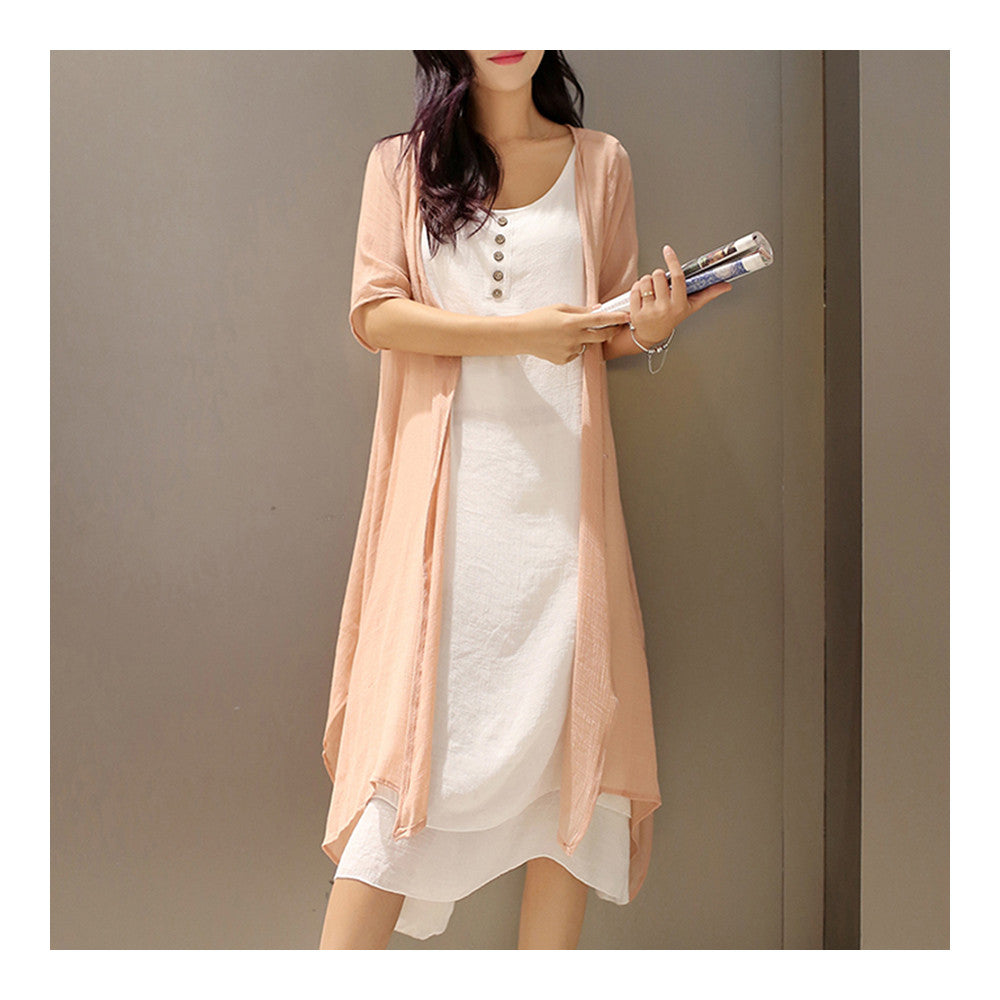 Plus Size Vintage Vest Long Dress 2pcs Suit   pink   S - Mega Save Wholesale & Retail