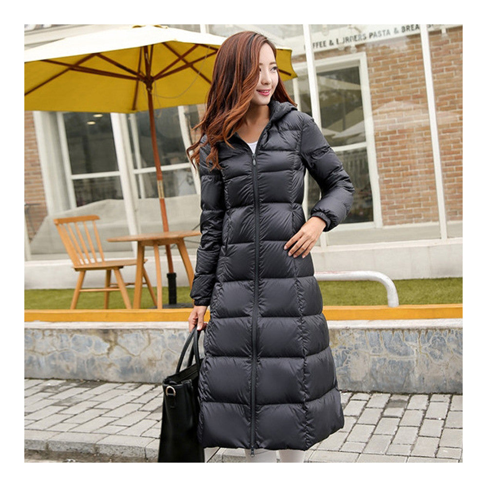 Winter Light Thin Down Slim Coat Extra Long Plus Size    black   S - Mega Save Wholesale & Retail - 1