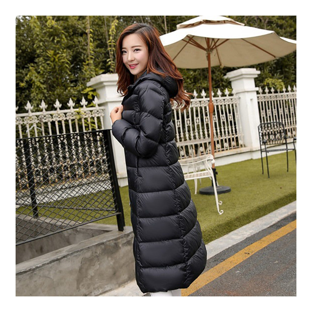 Winter Light Thin Down Slim Coat Extra Long Plus Size    black   S - Mega Save Wholesale & Retail - 2