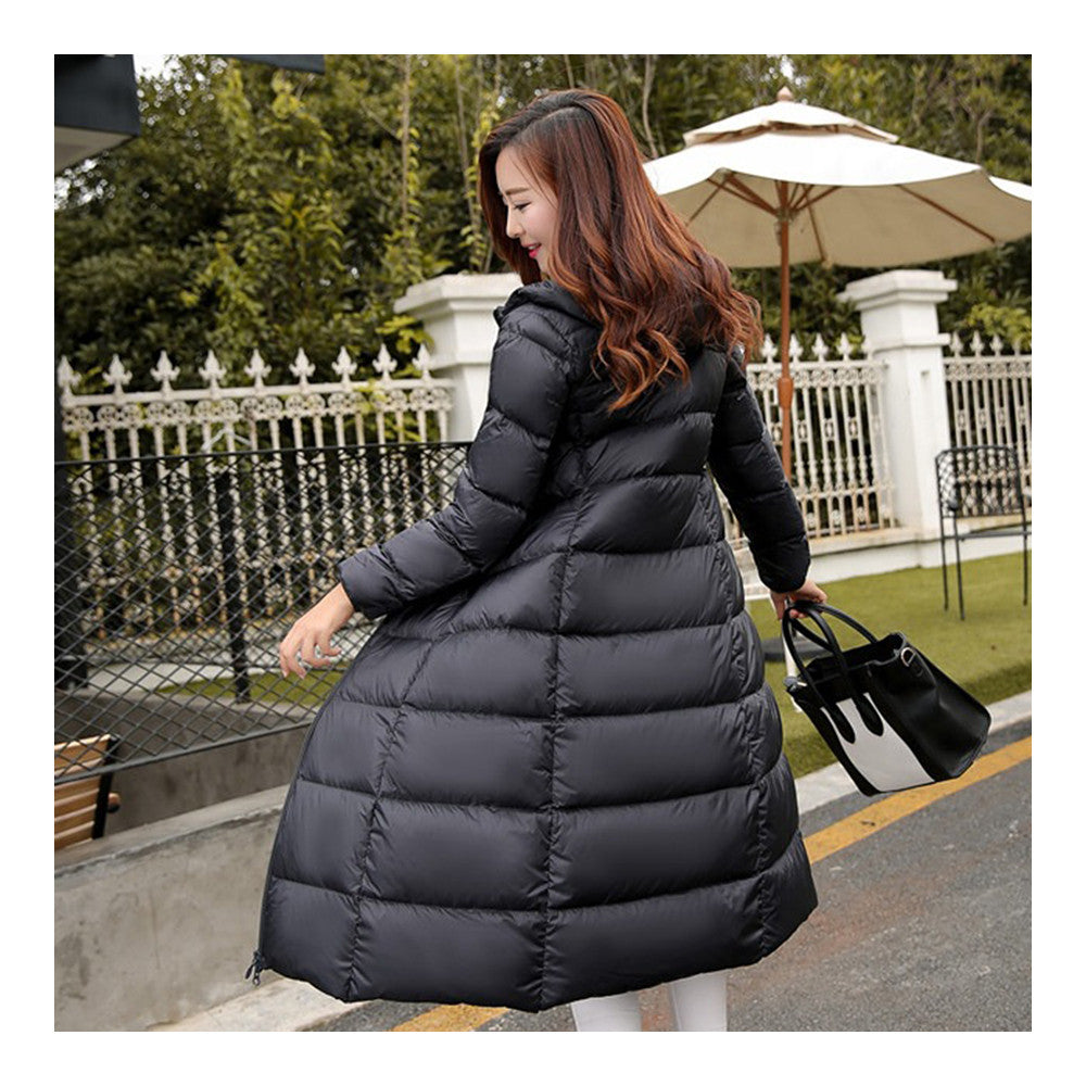 Winter Light Thin Down Slim Coat Extra Long Plus Size    black   S - Mega Save Wholesale & Retail - 3