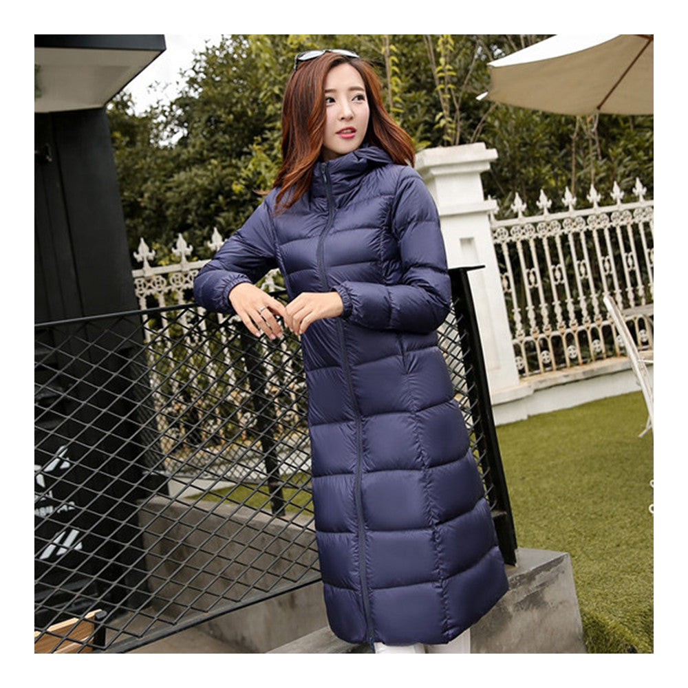 Winter Light Thin Down Slim Coat Extra Long Plus Size    navy    S - Mega Save Wholesale & Retail - 2