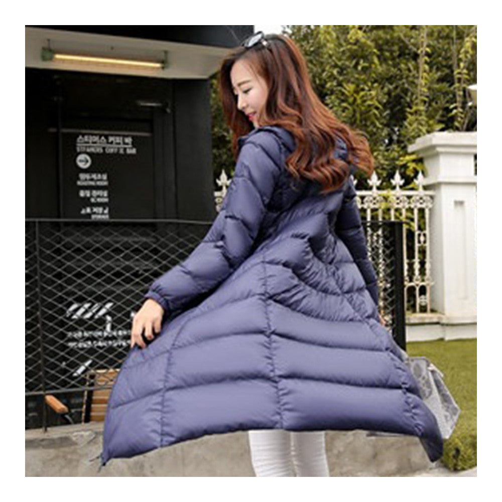 Winter Light Thin Down Slim Coat Extra Long Plus Size    navy    S - Mega Save Wholesale & Retail - 3