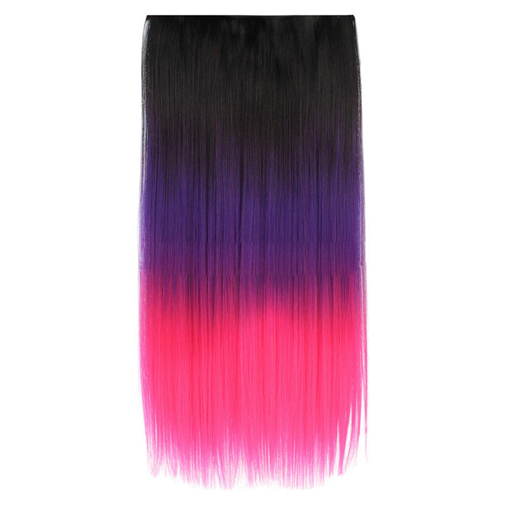 Five Clips Long Straight Hair Extension Wig   1BTPURPLETHOTPINK - Mega Save Wholesale & Retail
