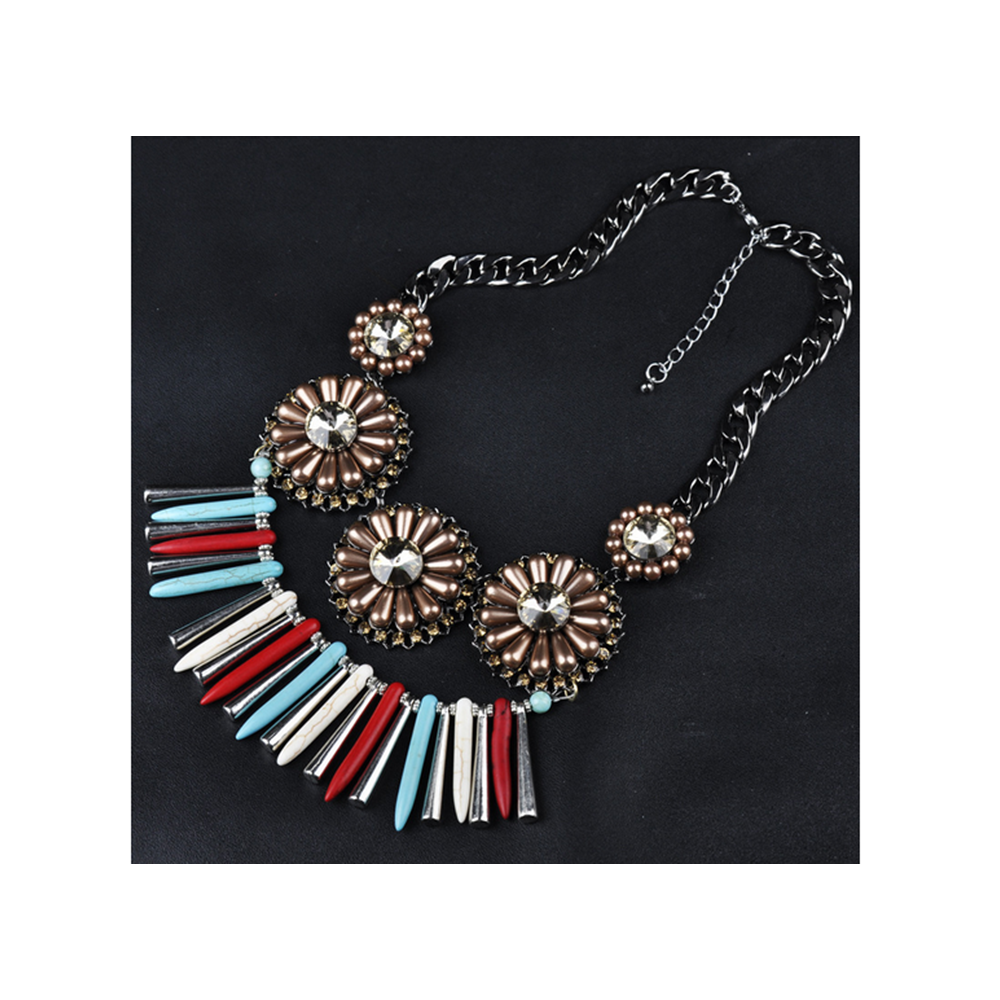 European Fashionable Necklace Alloy Tassel Pearl Bohemian Woman Necklace   colorful - Mega Save Wholesale & Retail
