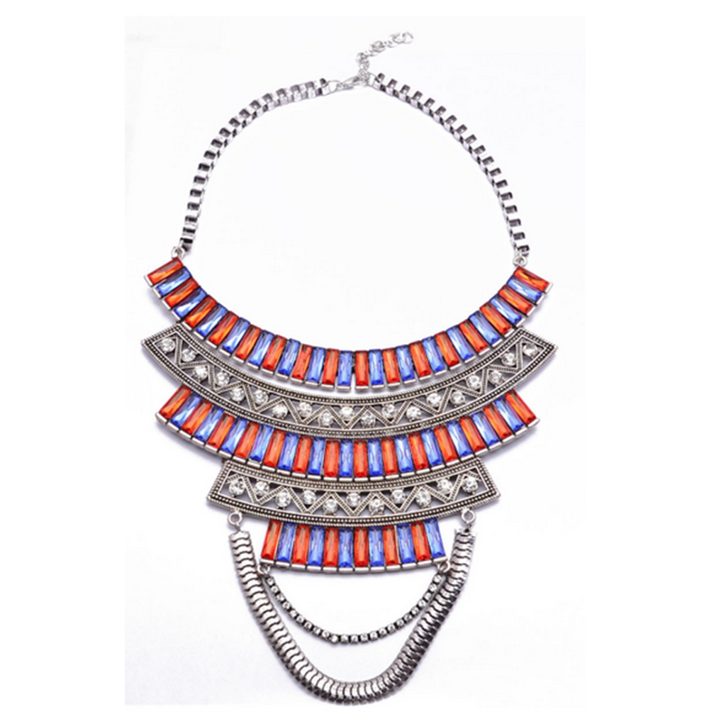 European Vintage Tassel Multi-layer Necklace Foreign Trade Hot Swaeter Necklace Clavicle Necklace Ornament   colorful - Mega Save Wholesale & Retail