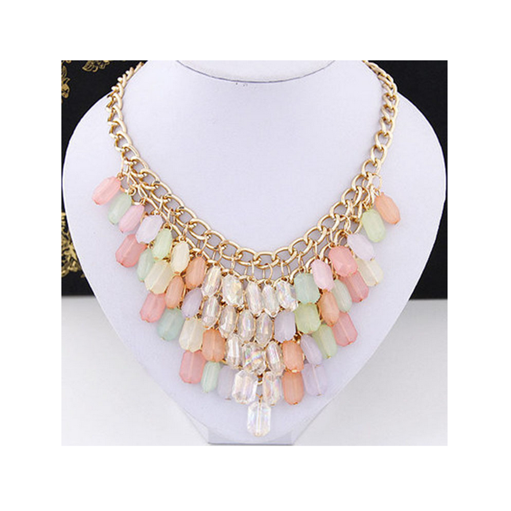 European Fashionable Big Brand Necklace Foreign Trade Water Cube Crystal Necklace   pink - Mega Save Wholesale & Retail - 3