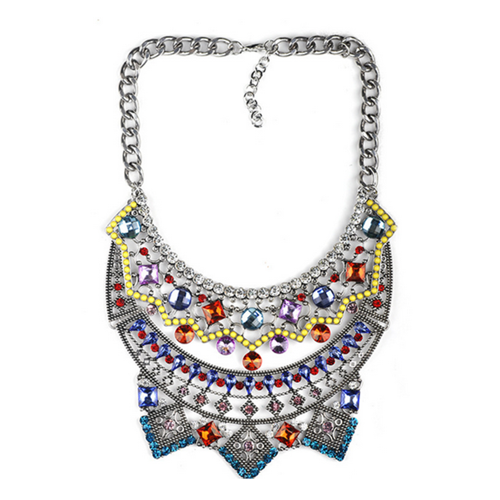New European Style Necklace Foreign Trade Original Order Alloy Zircon Big Brand Exaggerated Woman Necklace   colorful - Mega Save Wholesale & Retail