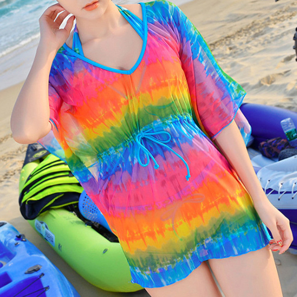 Bikini Swimsuit Swimwear Sunscreen Smock National Style Gauze Dress colorful strip M - Mega Save Wholesale & Retail - 1