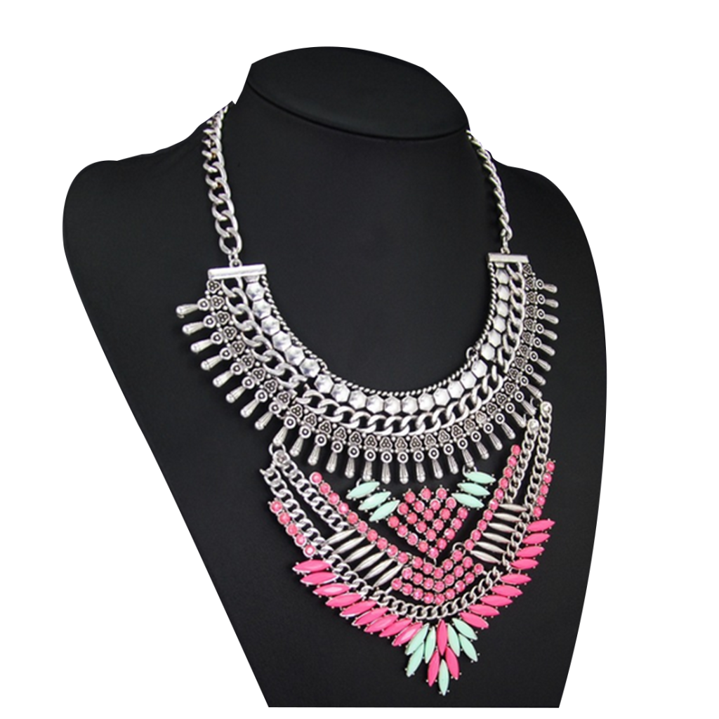 European Vintage Big Brand Necklace High Grade Envrionment-friendly Alloy Zircon Clavicle Necklace   colorful - Mega Save Wholesale & Retail