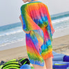 Bikini Swimsuit Swimwear Sunscreen Smock National Style Gauze Dress colorful strip M - Mega Save Wholesale & Retail - 2