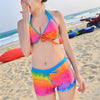 Bikini Swimsuit Swimwear Sunscreen Smock National Style Gauze Dress colorful strip M - Mega Save Wholesale & Retail - 3