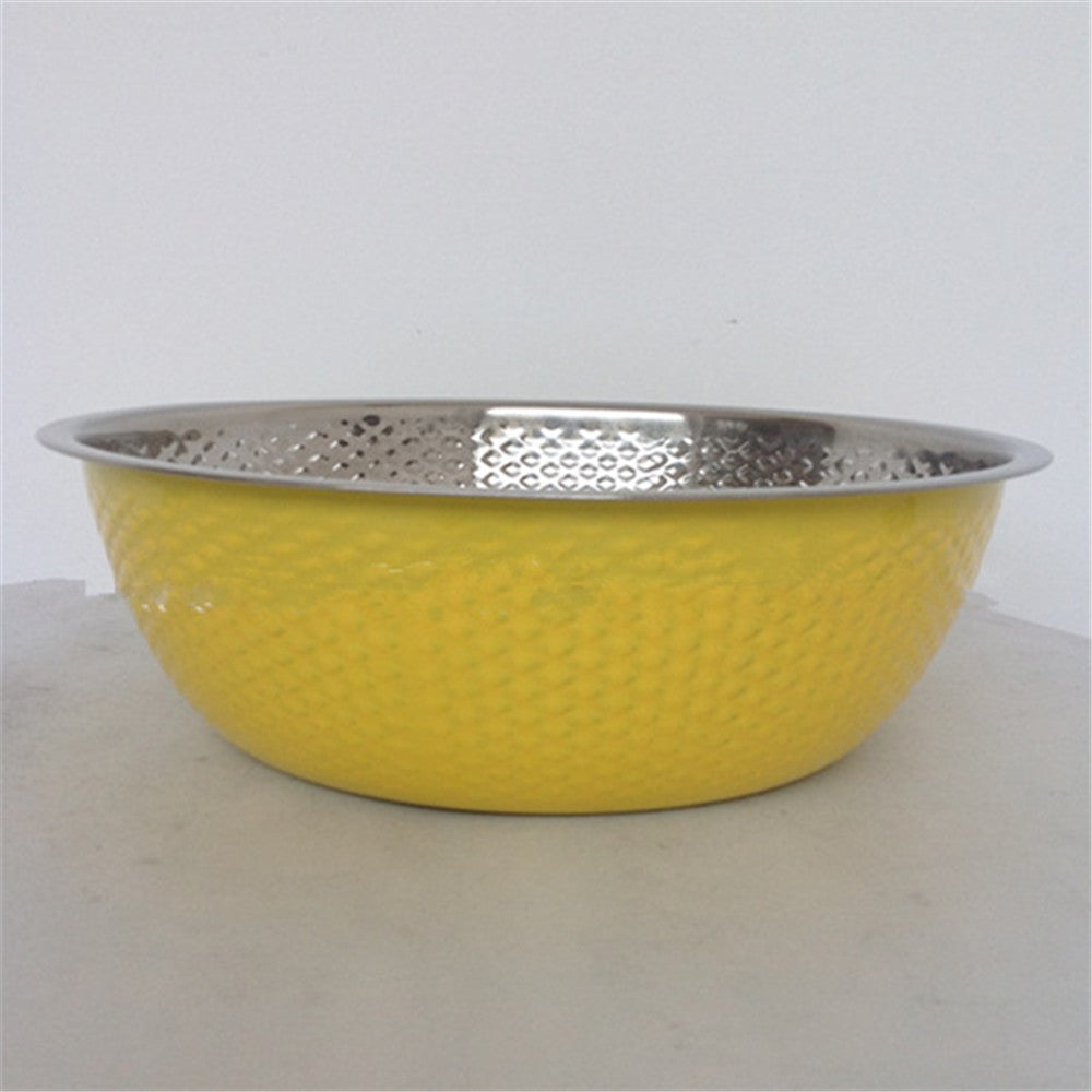 Gift sieve three-piece stainless steel rice sieve Wash rice sieve Wash rice and vegetables basin and basin - Mega Save Wholesale & Retail - 3