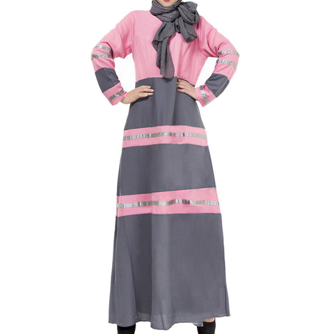 Muslim Women Garments Sunday Clothes Motley Dress   pink   M