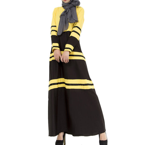 Muslim Women Garments Sunday Clothes Motley Dress   yellow  M