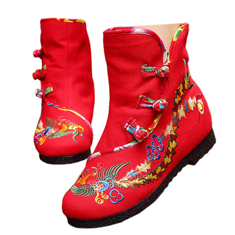 Vintage Beijing Cloth Shoes Embroidered Boots red with cotton - Mega Save Wholesale & Retail - 1