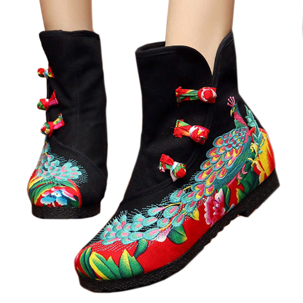 Vintage Beijing Cloth Shoes Embroidered Boots black with cotton - Mega Save Wholesale & Retail - 1
