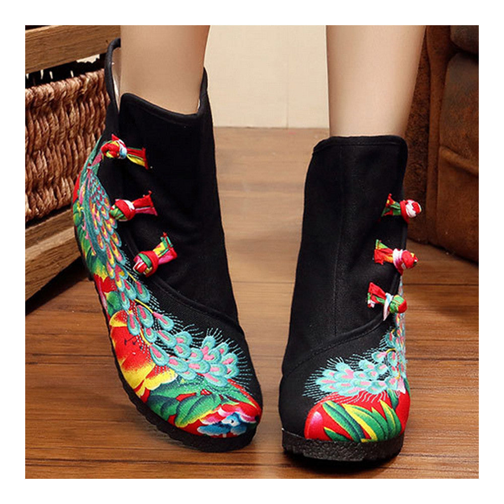 Vintage Beijing Cloth Shoes Embroidered Boots black with cotton - Mega Save Wholesale & Retail - 2