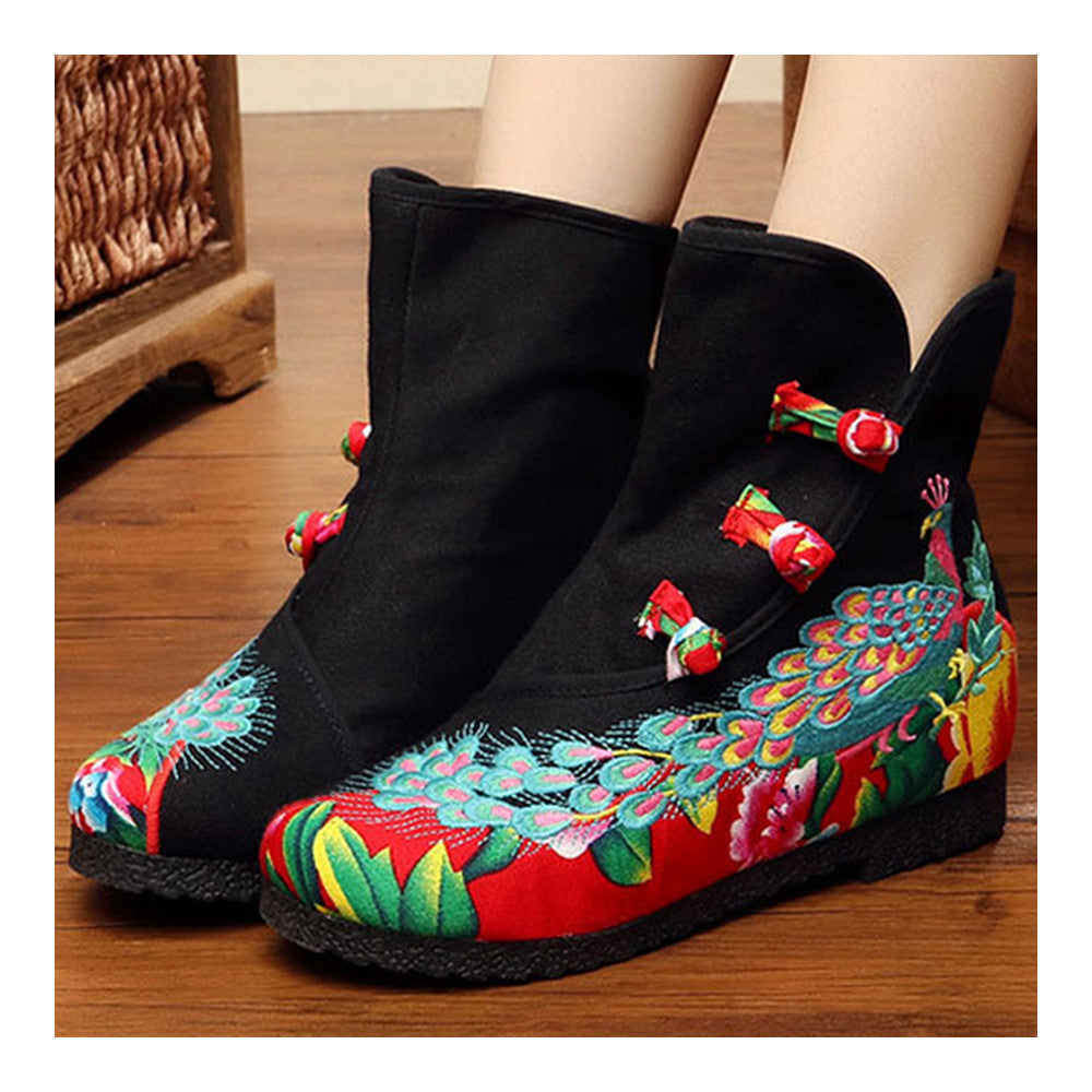 Vintage Beijing Cloth Shoes Embroidered Boots black with cotton - Mega Save Wholesale & Retail - 3
