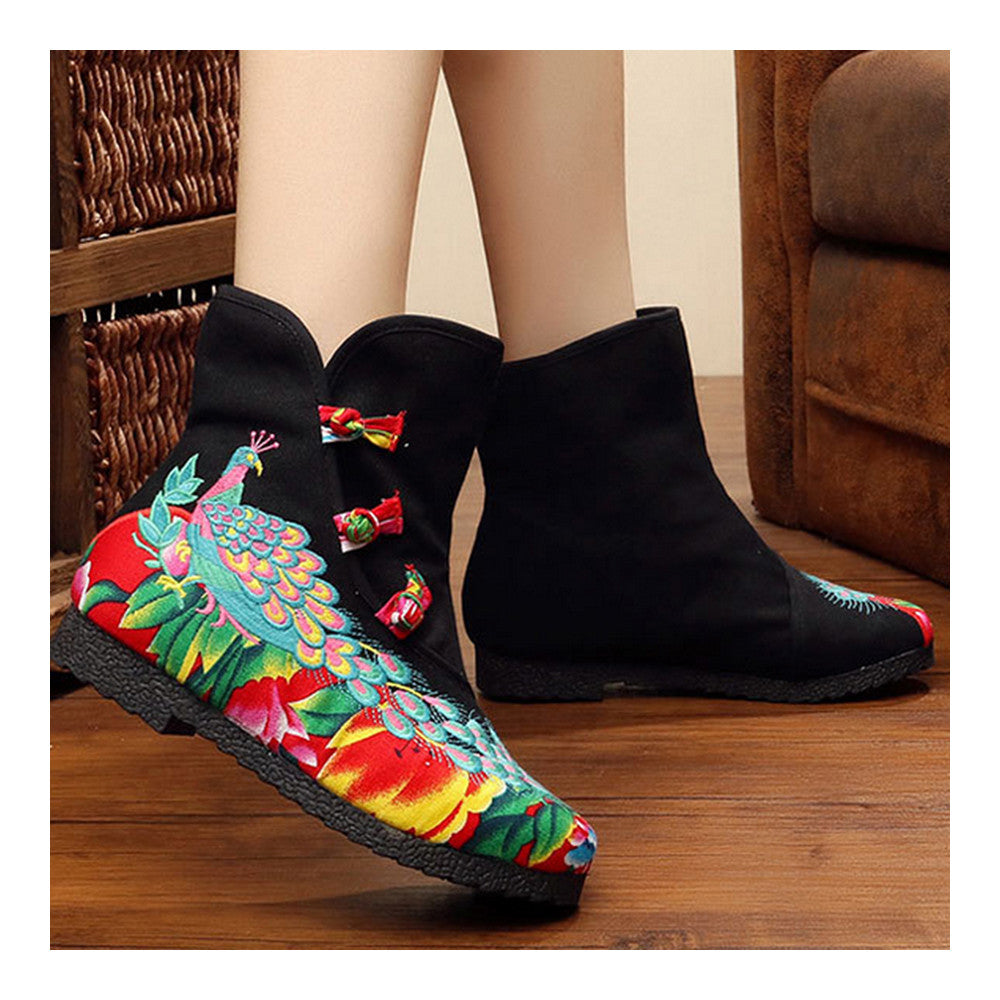 Vintage Beijing Cloth Shoes Embroidered Boots black with cotton - Mega Save Wholesale & Retail - 4