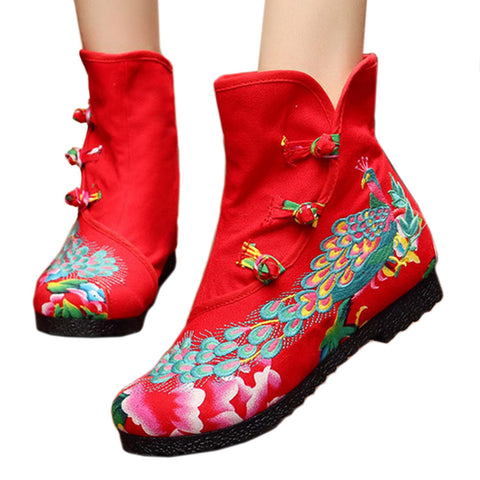 Vintage Beijing Cloth Shoes Embroidered Boots red thin shoes - Mega Save Wholesale & Retail - 1
