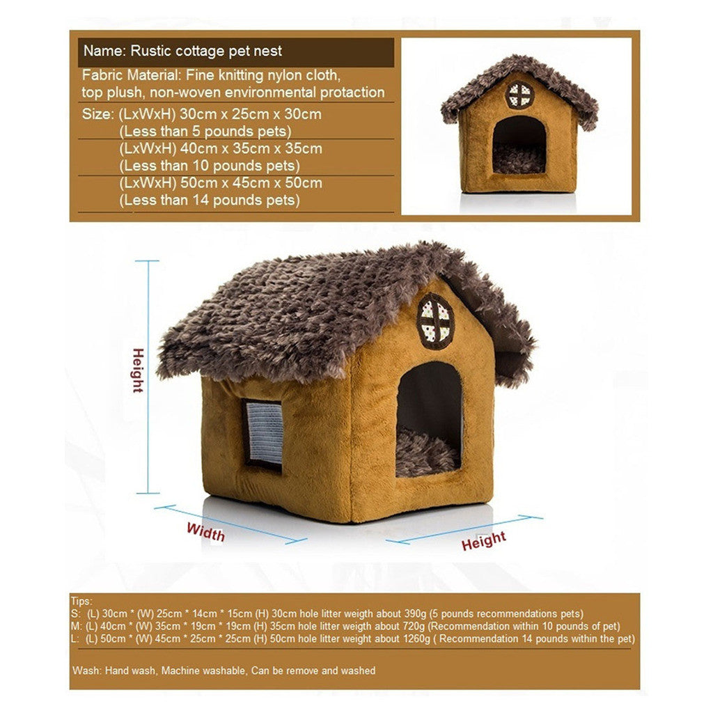 Fall Winter Teddy kennel pet kennel washable cottages Pomeranian Bichon small dog kennel dog house    cottages - Mega Save Wholesale & Retail - 2