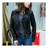 Woman PU Leather Biker Coat Short Handsome   S - Mega Save Wholesale & Retail - 3