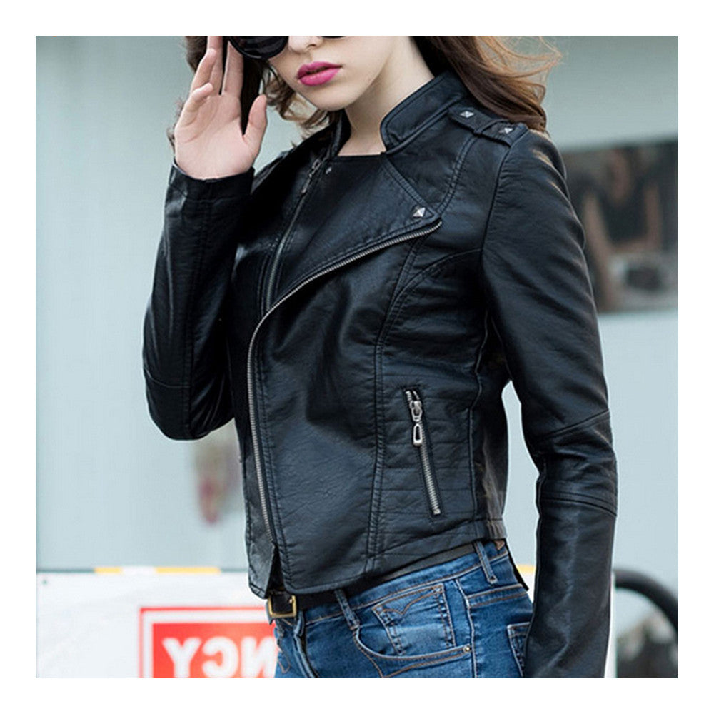 Woman PU Leather Biker Coat Short Handsome   S - Mega Save Wholesale & Retail - 4
