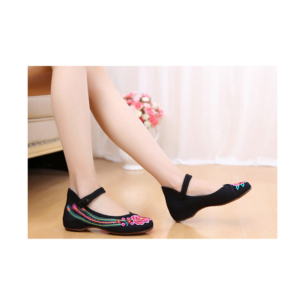 Old Beijing Black Summer Embroidered Shoes for Women in Square Dance National Style with Floral Designs & Ankle Straps - Mega Save Wholesale & Retail - 1