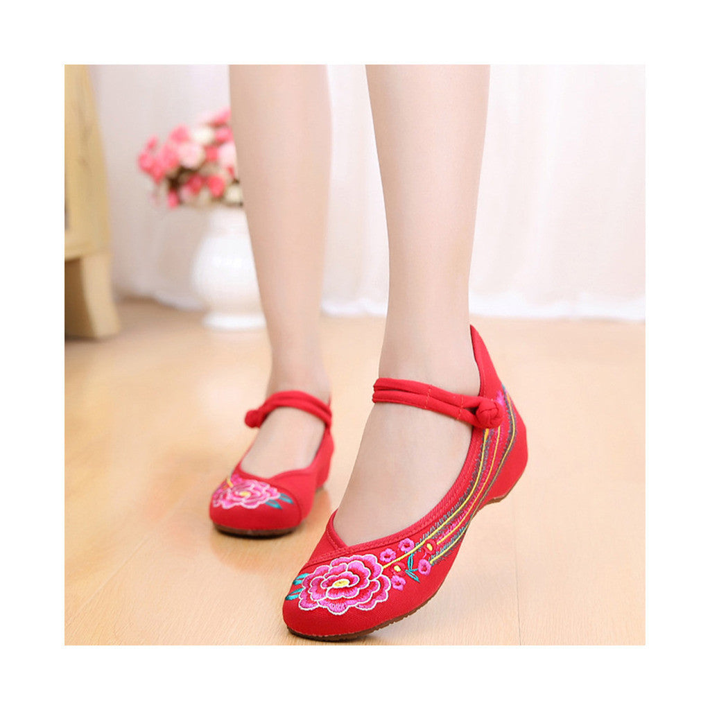 Old Beijing Embroidered Women Red Summer Shoes in Low Cut National Style with Beautiful Floral Designs & Ankle Straps - Mega Save Wholesale & Retail - 2