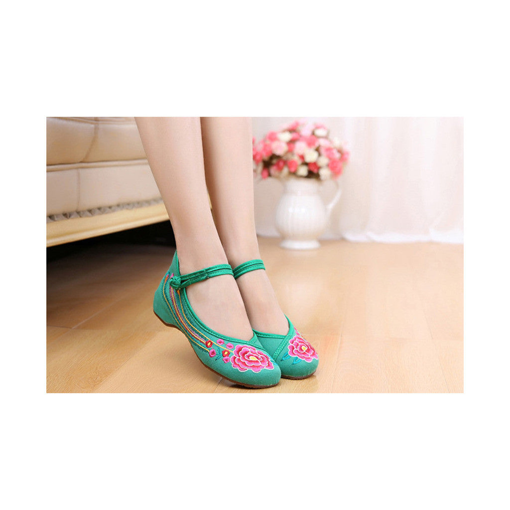 Old Beijing Green Embroidered Dance Shoes for Women in Low Cut National Style with Beautiful Floral Designs & Ankle Straps - Mega Save Wholesale & Retail - 1