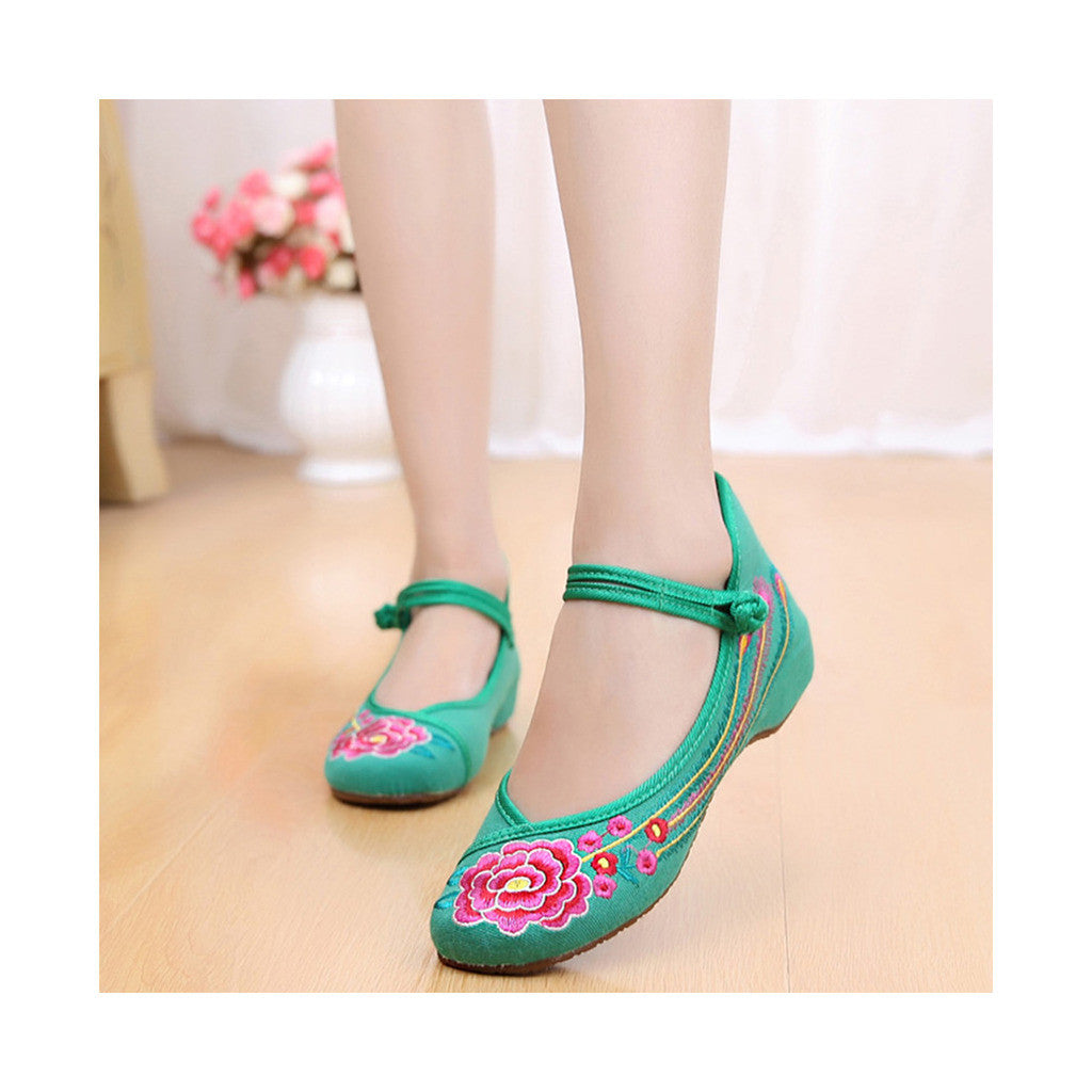 Old Beijing Green Embroidered Dance Shoes for Women in Low Cut National Style with Beautiful Floral Designs & Ankle Straps - Mega Save Wholesale & Retail - 2