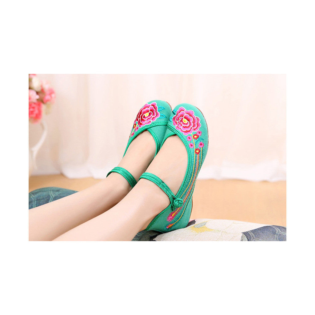 Old Beijing Green Embroidered Dance Shoes for Women in Low Cut National Style with Beautiful Floral Designs & Ankle Straps - Mega Save Wholesale & Retail - 3