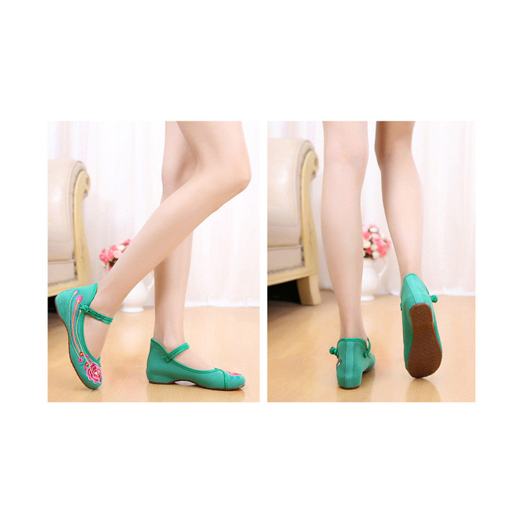 Old Beijing Green Embroidered Dance Shoes for Women in Low Cut National Style with Beautiful Floral Designs & Ankle Straps - Mega Save Wholesale & Retail - 4