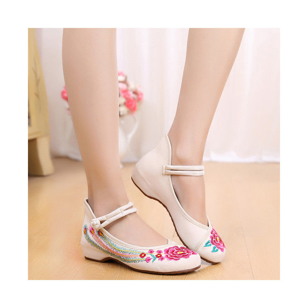 Old Beijing Cloth Shoes Summer National Style Embroidered Increased within Square Dance Shoes Mom Red Shoes Woman beige - Mega Save Wholesale & Retail - 3