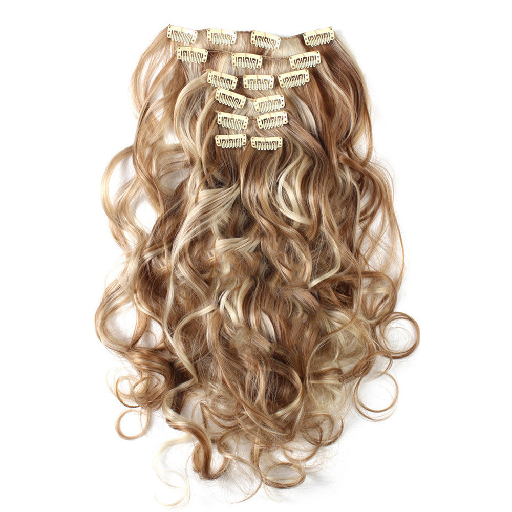 7pcs Suit Clips in Hair Extension Curled Wig Piece    27H613 - Mega Save Wholesale & Retail