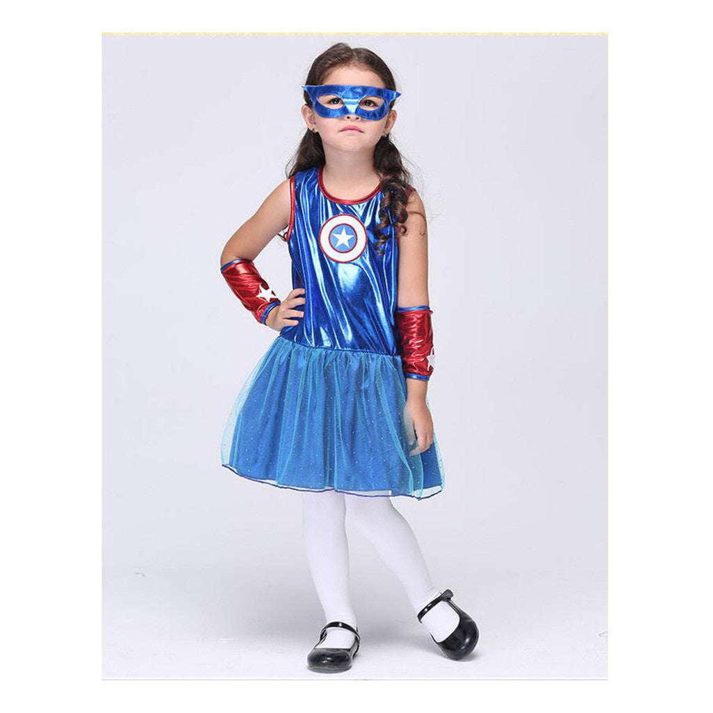 European Children Kid Girl Sleeveless with Gloves Pure Cotton Superman Cosplay Parent-child Dress Attire - Mega Save Wholesale & Retail