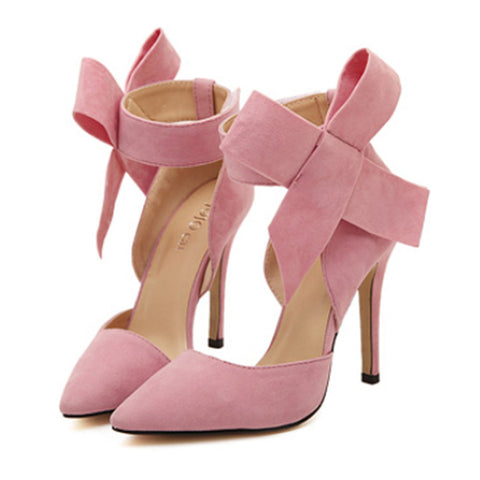 Super Big Bowknot Pointed High Heel Peep-toe Women Sandals  pink  35 - Mega Save Wholesale & Retail