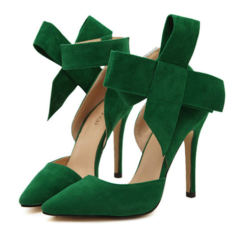 Super Big Bowknot Pointed High Heel Peep-toe Women Sandals  green  35 - Mega Save Wholesale & Retail