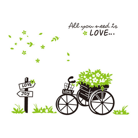 Plant Bicycle Removeable Wallpaper Wall Sticker - Mega Save Wholesale & Retail - 1