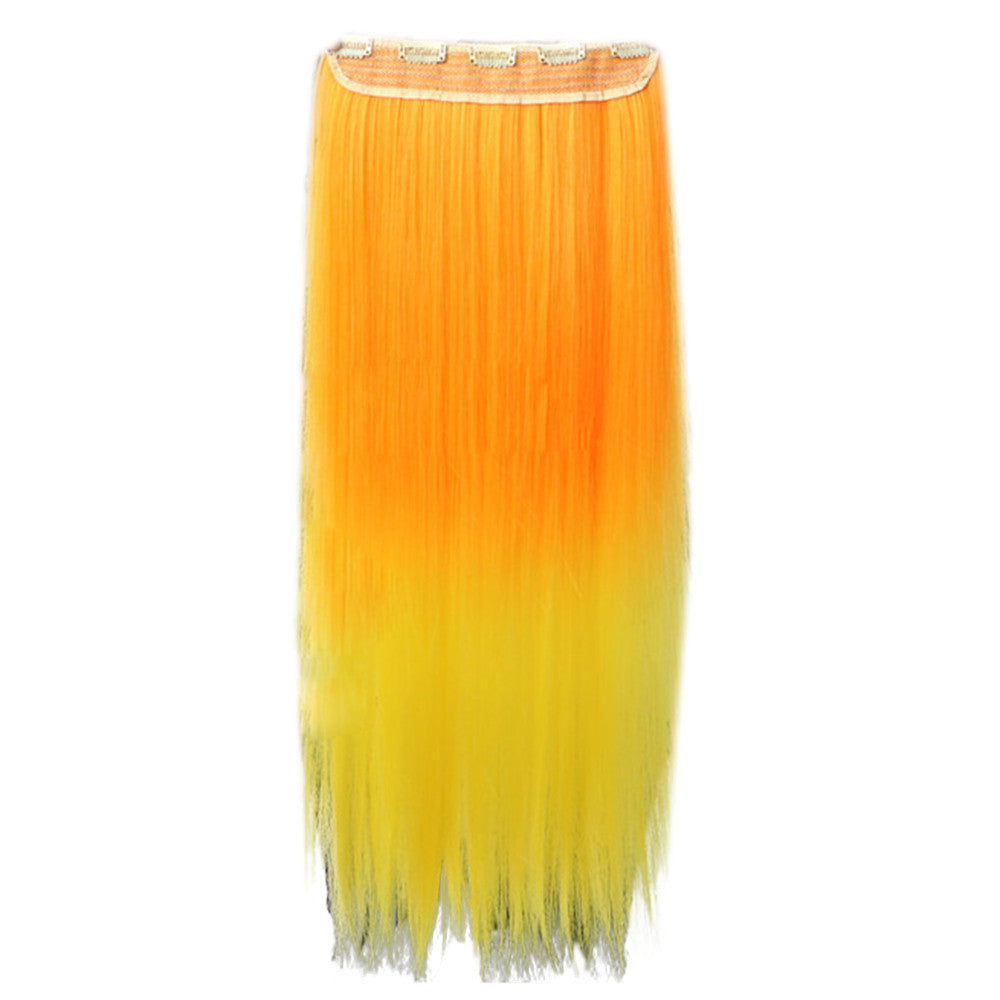Gradient Ramp Five Cards Hair Extension Wig    orange to yellow - Mega Save Wholesale & Retail - 2