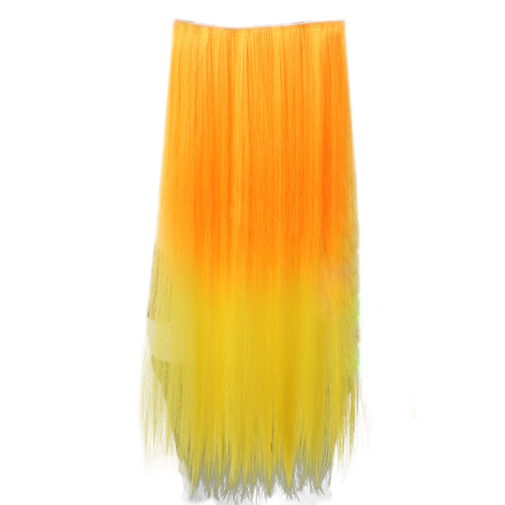 Gradient Ramp Five Cards Hair Extension Wig    orange to yellow - Mega Save Wholesale & Retail - 1