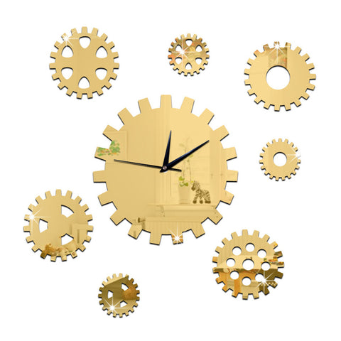 DIY Creative Decoration Gear Mirror Wall Clock  golden - Mega Save Wholesale & Retail