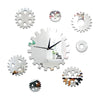 DIY Creative Decoration Gear Mirror Wall Clock   silver - Mega Save Wholesale & Retail
