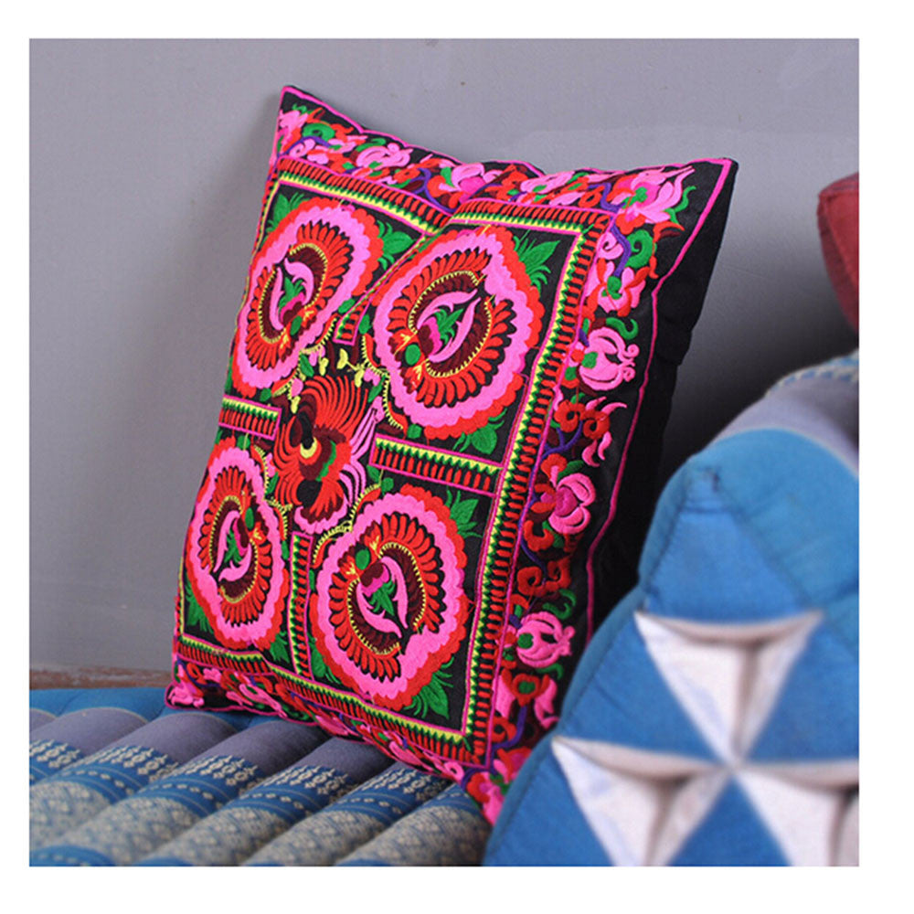 Festival Gift Original Embroidery Cushion Cover National Style Inn Hotel Embroidery Boster Case    catharanthus roseus - Mega Save Wholesale & Retail - 1