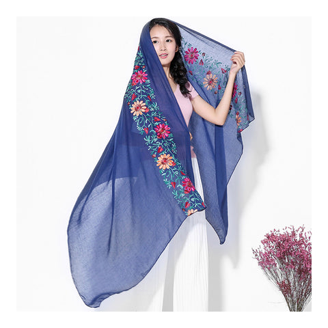 Embroidery Scarf Woman National Style Tippet   sapphire blue - Mega Save Wholesale & Retail