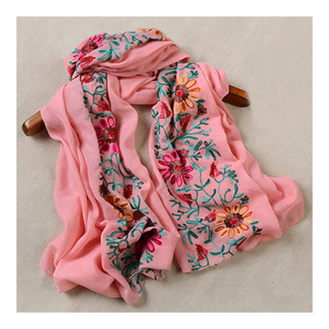Embroidery Scarf Woman National Style Tippet   pink - Mega Save Wholesale & Retail