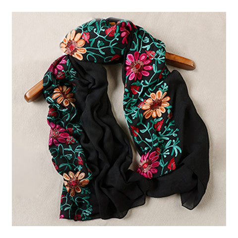 Embroidery Scarf Woman National Style Tippet   black - Mega Save Wholesale & Retail