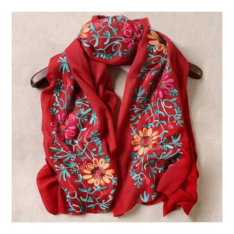 Embroidery Scarf Woman National Style Tippet   wine red - Mega Save Wholesale & Retail